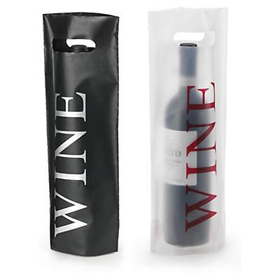 Buste shopper in plastica per bottiglie con stampa e manico a fagiolo