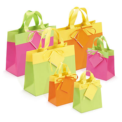 Buste shopper lusso bicolore con nastro in satin