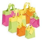 Buste shopper lusso bicolore con nastro in satin