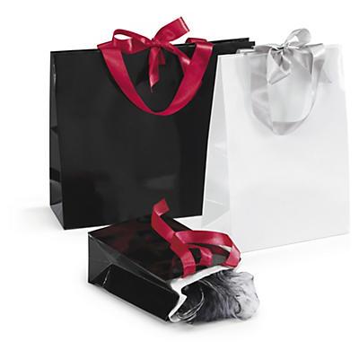 Buste shopper lusso con maniglie in nastro satin