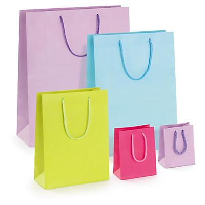Buste shopper lusso opaca con maniglie a cordoncino colori brillanti