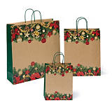 Buste shopper natalizia in carta kraft con maniglie ritorte