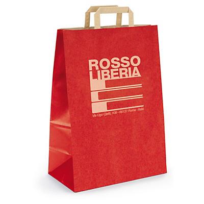 Buste shopper personalizzate in carta kraft con maniglie ritorte 2 lati 1 colore