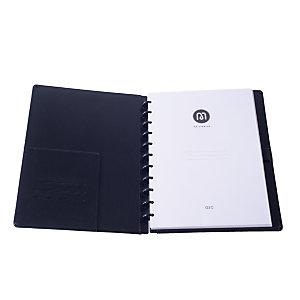 M by Staples ARC Cuaderno personalizable, A4, rayado, 60 hojas, discos de 19 mm, cubierta piel, negro