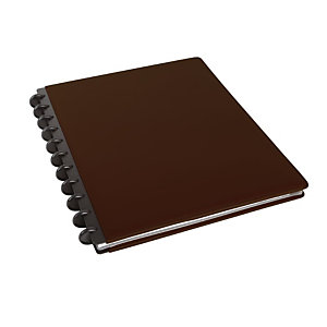 M by Staples ARC Cuaderno personalizable, A4, rayado, 60 hojas, discos de 19 mm, cubierta polipiel, marrón oscuro