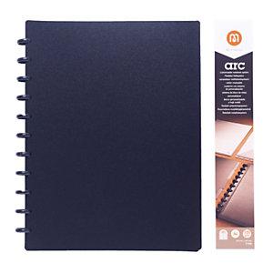 M by Staples ARC Cuaderno personalizable, A4, rayado, 60 hojas, discos de 19 mm, cubierta polipropileno, negro