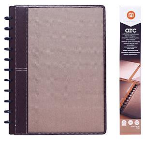 M by Staples ARC Cuaderno personalizable, A4, rayado, 60 hojas, discos de 19 mm, cubierta tela, marrón