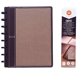 M by Staples ARC Cuaderno personalizable, A5, rayado, 60 hojas, discos de 19 mm, cubierta piel y tela, marrón