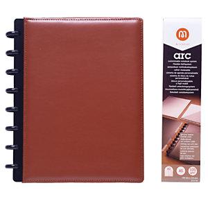 M by Staples ARC Cuaderno personalizable, A5, rayado, 60 hojas, discos de 19 mm, cubierta polipiel, marrón
