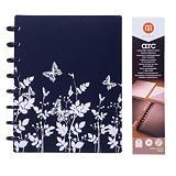 M by Staples ARC Cuaderno personalizable, A5, rayado, 60 hojas, discos de 19 mm, cubierta polipropileno, diseño floral B/N