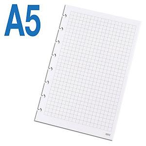 M by Staples ARC Recambio de hojas, A5, 8 taladros para archivador, cuadriculado, 50 hojas