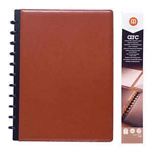 M by Staples Cuaderno ARC, A4, 60 hojas, 100g/m², con rayas, tapa de piel, marrón