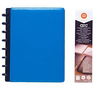 M by Staples Cuaderno ARC, A5, 60 hojas, 100g/m², con rayas, tapa de cuero, azul