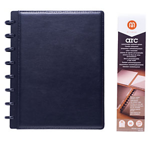 M by Staples Cuaderno ARC, A5, 60 hojas, 100g/m², con rayas, tapa de piel, negro