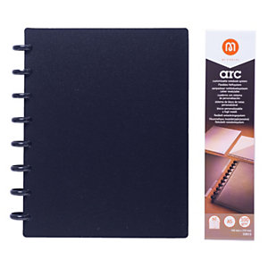M by Staples Cuaderno ARC, A5, 60 hojas, 100g/m², con rayas, tapa de polipropileno, negro