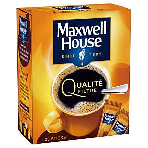 Café soluble Maxwell House Qualité filtre, boîte de 25 sticks