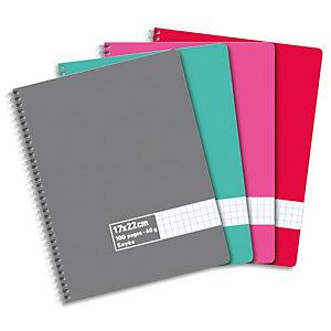 AUTRE Cahier spirale 17x22cm 100 pages 60g grands carreaux Séyès. Couverture carte assortie