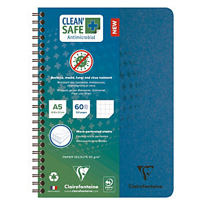 Cahiers antimicrobiens Clean Safe Clairefontaine format A5 - 120 pages réglure 5 X 5