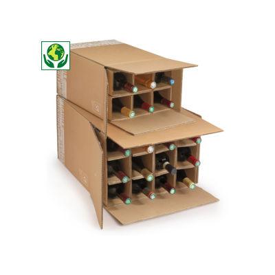 Caisse pour bouteilles 75 cl avec croisillons renforcés##Flesverpakking met versterkte vakverdeling 75 cl
