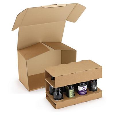 Caisse avec calage carton pour bouteilles de bière##Bierflaschenverpackungen mit Kartoneinlage