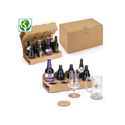 Caisse avec calage carton pour bouteilles de bières##Flesverpakking met kartonnen vakverdeling voor bierflesjes