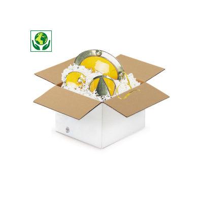 Caisse carton à base carrée blanche simple cannelure