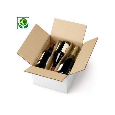 Caisse carton blanche pour bouteilles avec berceaux