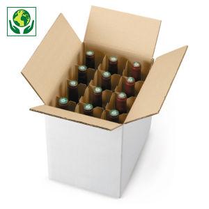 Caisse carton blanche pour bouteilles avec croisillons