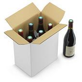 Caisse carton blanche pour bouteilles montage instantané avec croisillons intégrés