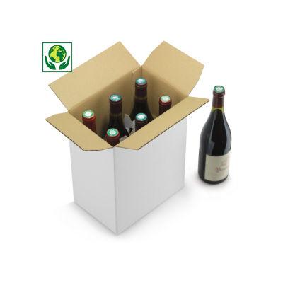 Caisse carton blanche pour bouteilles à montage instantané croisillons intégrés