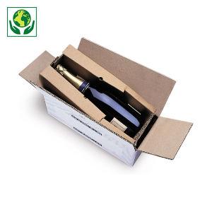 Caisse carton blanche d'expédition pour bouteilles avec calage carton