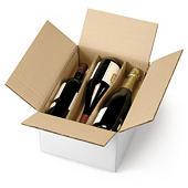 Caisse carton blanche d'expédition pour bouteilles avec berceaux