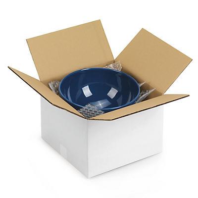 Caisse carton blanche simple cannelure à base carrée RAJABOX