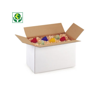 Caisse carton blanche simple cannelure RAJA