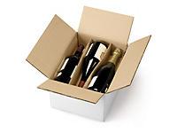 Caisse carton pour bouteilles avec berceaux##Flessenverzenddoos met horizontale vakverdeling