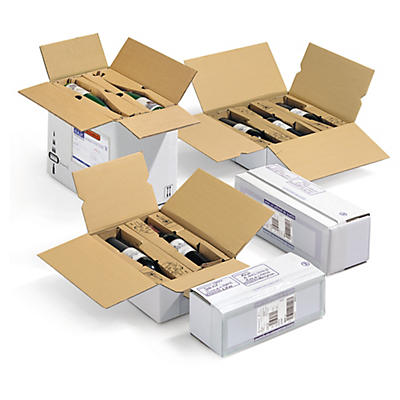 Caisse carton pour bouteilles avec calage unitaire##Flaschenverpackung mit Kartoneinlage