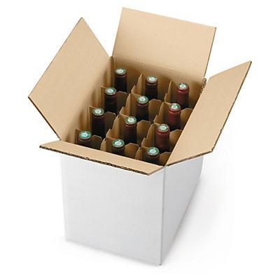 Caisse carton pour bouteilles avec croisillons