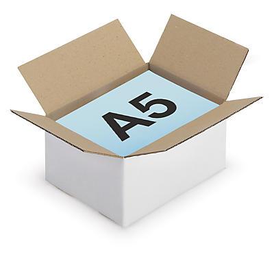 Caisse carton brune/blanche simple cannelure RAJABOX formats A5/A6