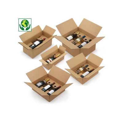 Caisse carton brune pour bouteilles avec calage carton à montage instantané