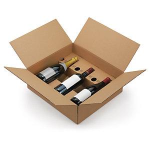Caisse carton brune pour bouteilles à montage instantané