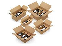 Caisse carton brune pour bouteilles montage instantané avec calage carton