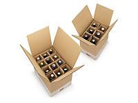 Caisse carton brune avec croisillons renforcés pour bouteilles 33 et 50 cl