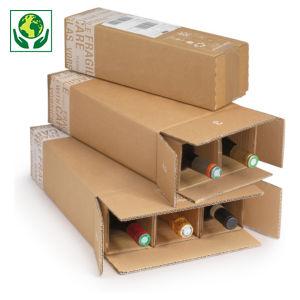 Caisse carton brune avec croisillons renforcés pour bouteilles 75 cl et magnum