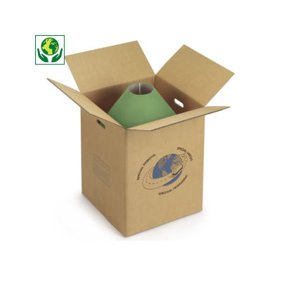 Caisse carton brune double cannelure de déménagement à poignées