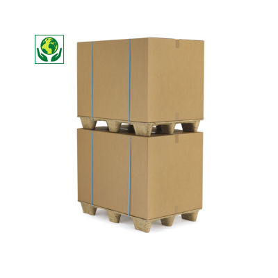 Caisse carton brune double cannelure de plus de 70 cm de long##Palletiseerbare kartonnen container in bruin dubbelgolfkarton