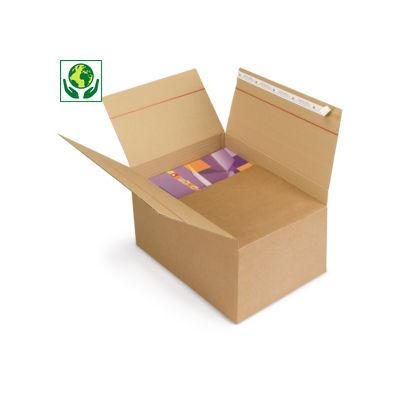 Caisse carton brune à hauteur variable et montage instantané avec fermeture adhésive
