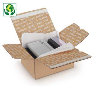 """Caisse carton brune à montage instantané et fermeture adhésive """"aller-retour"""" imprimée """"Merci"""""""