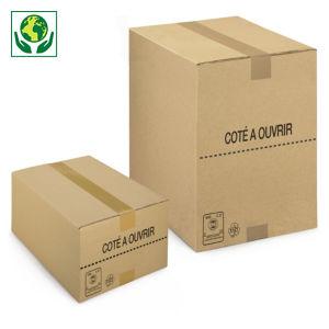 Caisse carton brune picking simple cannelure recyclé