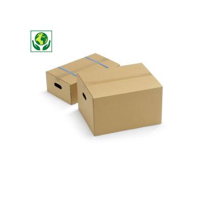 Caisse carton brune à poignées et montage rapide double cannelure