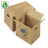 Caisse carton brune simple cannelure de déménagement à poignées RAJA